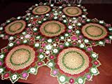 Gold Medallion Lace Tablecloth, Handmade Lace Table Covering, Gold Medallions Accented with Pink, White, Aqua, Red Flowers. 40 inches