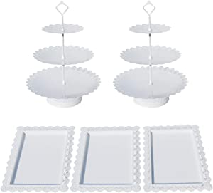 Set of 5 Pieces Cake Stands Iron Cupcake Holder Fruits Dessert Display Plate Serving Tray for Baby Shower Wedding Birthday Party Celebration Home Decor (White)
