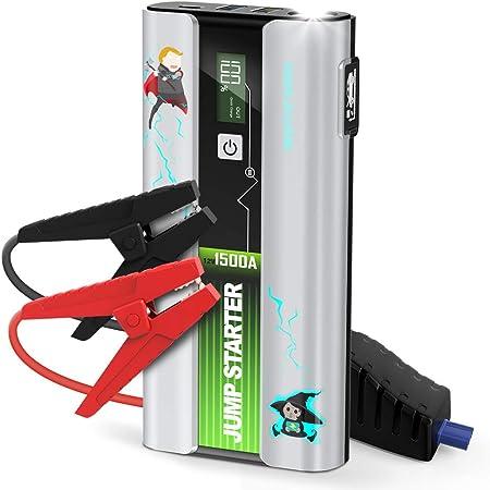 LIMINK Auto Starthilfe Powerbank,1500A 18000mAh Starthilfeger/ät 12V Autobatterie Anlasser bis zu 7 L Benzin 5.5 L Dieselmotor mit QC 3.0 Schnellladung LED Taschenlampe