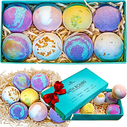 Bath Bombs Gift Set - 8 Luxury All Vegan Bubble Fizzies For Women, Relaxation Bath Bomb Kit - Relaxing Spa Gifts For Her - Unique Birthday & Beauty Products (Gift Basket Spa Relaxing Lavender)
