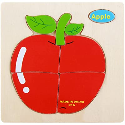 Wooden Puzzles Layhome 3D Jigsaw Puzzle Baby Kids Favour Toys (Apple) : Baby