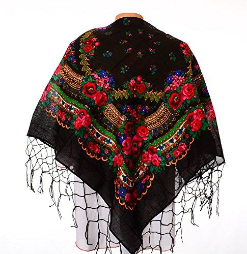 [Shawl Fashion Ukrainian Fringed Wrap Polish Scarf Russian Babushka for Women Traditional Folk Hustka Ethnic Platok for Ladies Evening Dress Wedding Accessory. 44] (Traditional Russian Outfits)