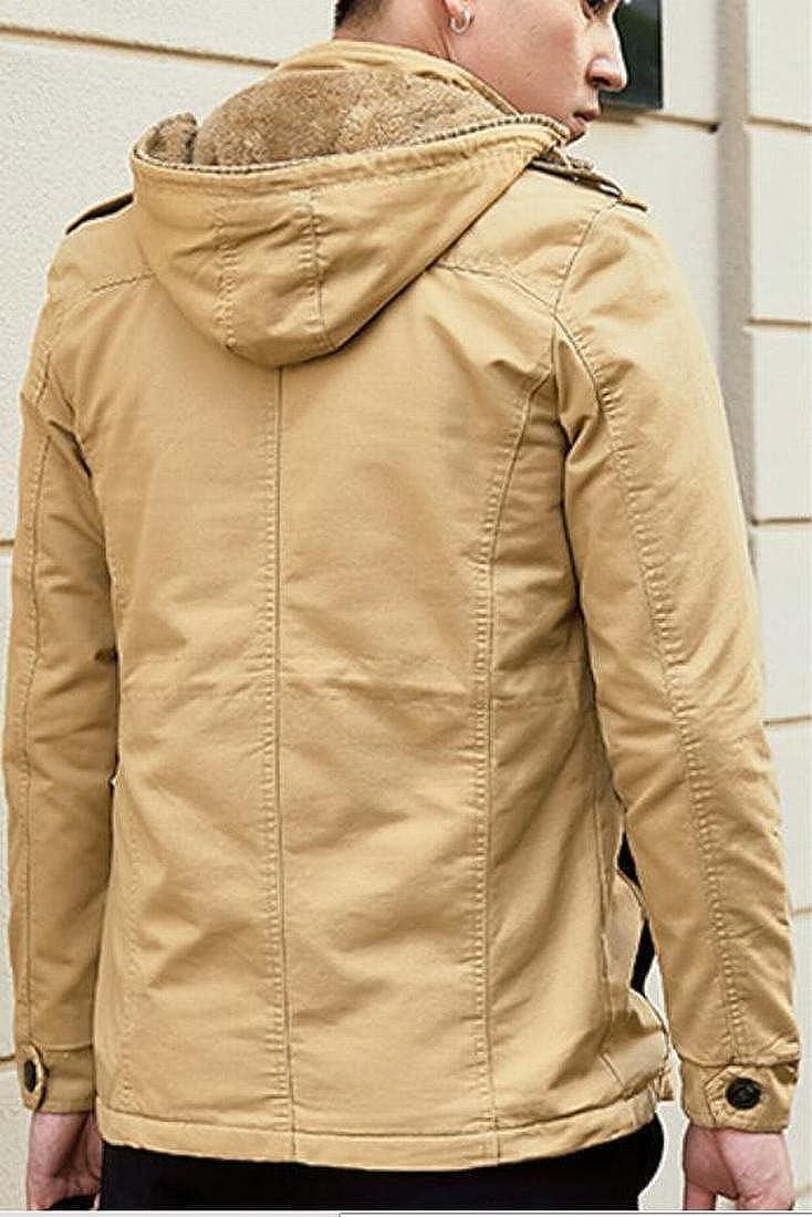 CBTLVSN Men Thicken Warm Faux Fur Hooded Padded Parkas Coat Jackets