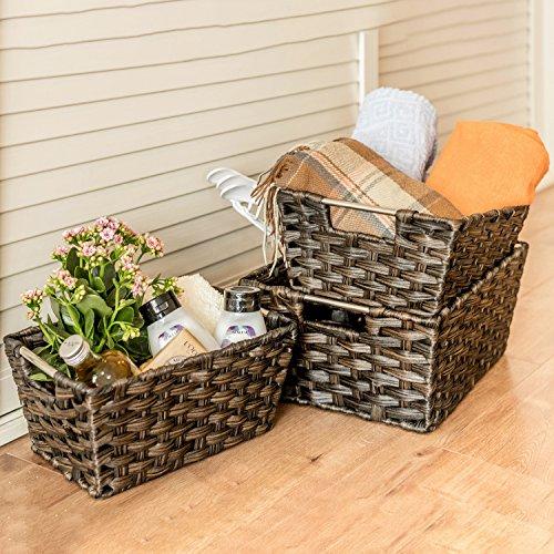 Woven Baskets, MaidMAX Rectangular Rattan Stora...