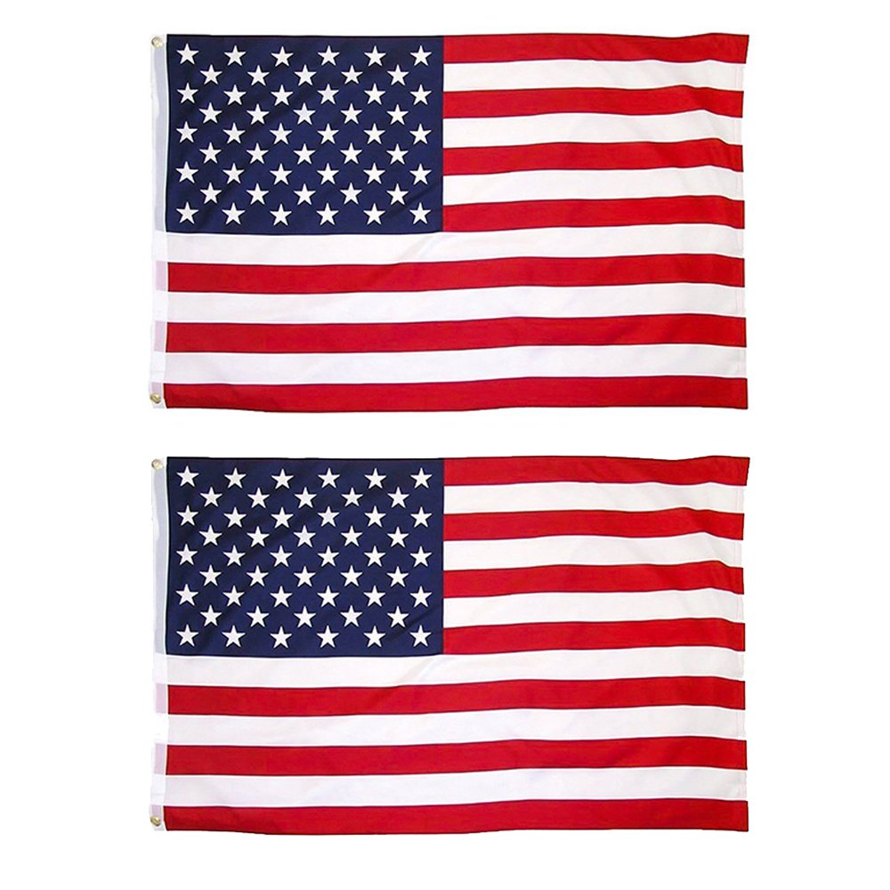 JUNZENIA American Flag 2-Piece 3x5 Ft USA Printed Stars and Stripes Banners
