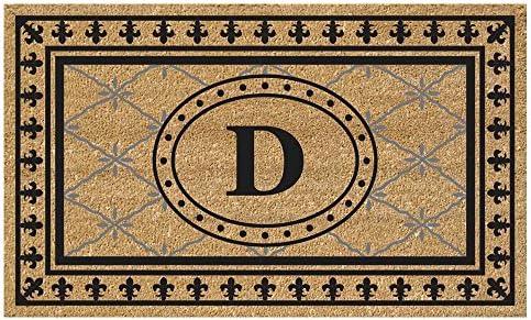 Nedia Home Super Scraper Bungalow Vinyl Coir Doormat, Monogrammed D, 20 x 36