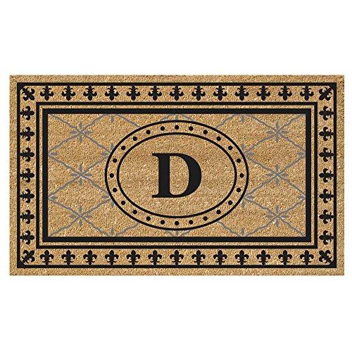 (Nedia Home Super Scraper Bungalow Vinyl Coir Doormat, Monogrammed D, 20 x 36