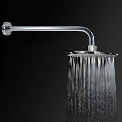 Purelux 8 Inch Rainfall Fixed Mount Shower Head Set With 16 Inch Extra Long  Stainless Steel