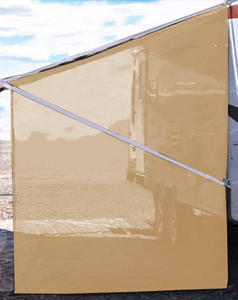 Tentproinc RV Awning Side Shade 9 X7 – Beige Mesh Screen Sunshade Complete Kits Camping Trailer Canopy UV Sun Blocker – 3 Years Limited Warranty