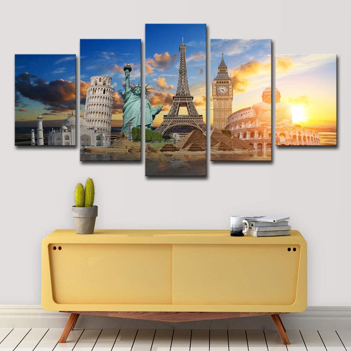 HD-Druckplakat 5 Denkm/äler wie die Eiffelturm-Statue und andere ber/ühmte Sehensw/ürdigkeiten Leinwand Wandbild Printed Bild Wand Kunst Hause B/üro,A,S20/×50cm// 8/×20in