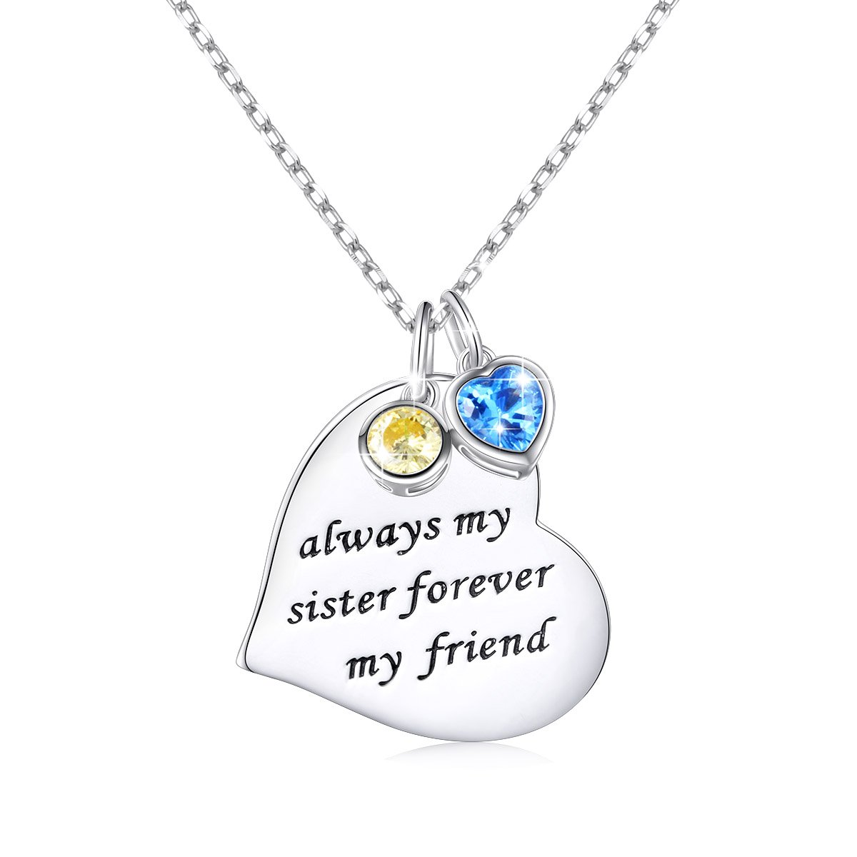 Graduation Gift 925 Sterling Silver Engraved Always My Sister Forever My Friend Love Heart Pendant Necklace for Women, Rolo Chain 18 inch