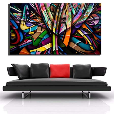 NIMCG Diseño de Arte Lienzo Abstracto Pintura de Pared línea ...