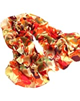 Demarkt Fashion Foulard Echarpe Dessin Coloré -160*55CM - Chiffon Soie pour Femme - Orange