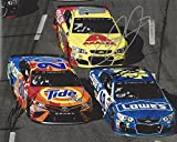 3X AUTOGRAPHED Dale Earnhardt Jr. / Jimmie Johnson / Matt Kenseth 2017 Monster Energy Cup Series (Axalta - Lowes - Tide Pods) Signed Collectible Picture NASCAR 8X10 Inch Glossy Photo with COA