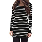 Myobe Women's Black and White Striped Tops Basic Long Sleeve Striped T Shirt Tunic Tops