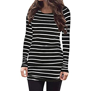 4fb66ccbaa Women s Women s Black and White Striped Shirt Dress Long Sleeves Casual Tee  Blouse Tops