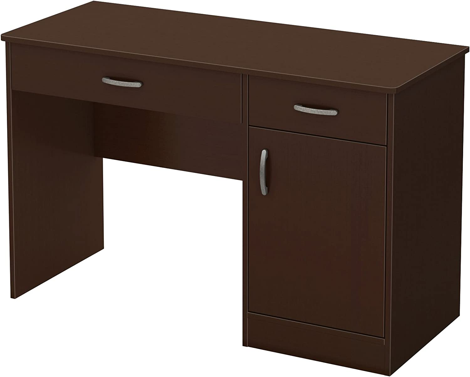 South Shore Small Computer Desk with Drawers, Chocolate