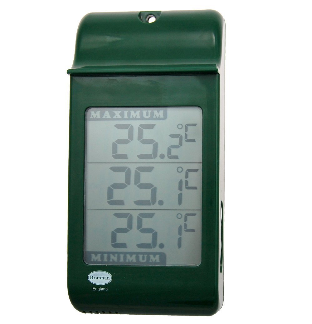 Large Digital Max Min Thermometer in Green - Indoor Outdoor Garden Greenhouse Wall