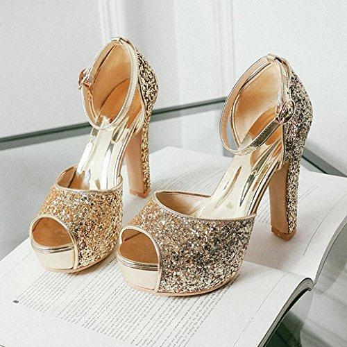 Hauts À Bouche Talons Paillettes Or Sandales Tiges Épais Été Chaussures Poisson De Femme vIxTwAqz