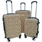 3 Piece Safari Leopard Pattern Spinner Lightweight Expandable Luggage Set Suitcases, Graphic Animal Cat Spots Design, Hardsided, Checkpoint Friendly, Multi Compartment, Hard Travel Bags, Mocha, Black