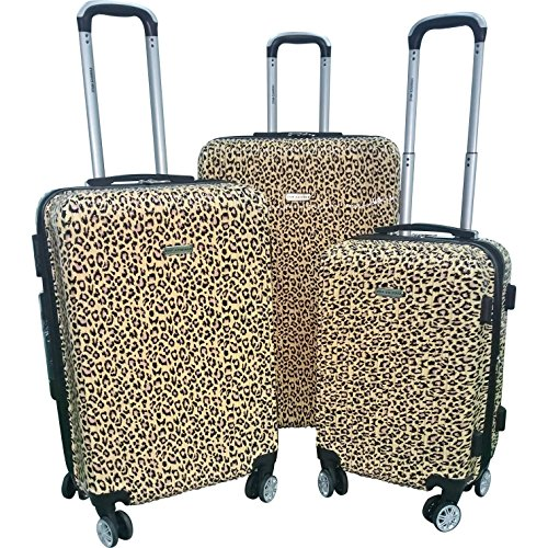 3 Piece Safari Leopard Pattern Spinner Lightweight Expandable Luggage Set Suitcases, Graphic Animal Cat Spots Design, Hardsided, Checkpoint Friendly, Multi Compartment, Hard Travel Bags, Mocha, Black by S & E