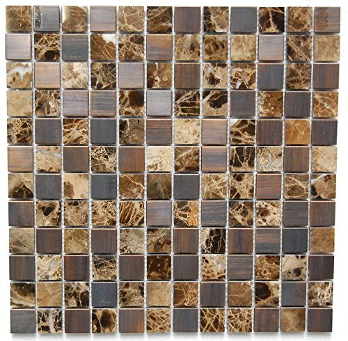 Interlocking Pebble Floor Tiles (11-Pack) Kitchen, Bathroom, and Patio Flooring | Indoor and Outdoor Use | Natural Marble and Bronze Mosaics Stones | Quick and Easy Grout Installation