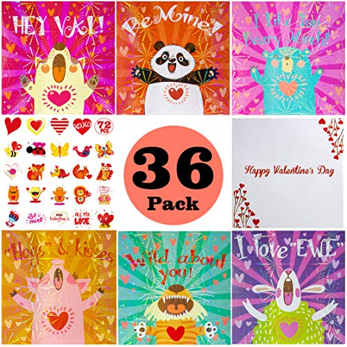 Kids Valentine Card Packs, Foil Valentine Day Dinosaur Cards with Temporary Tattoos and Heart Envelopes for Kids, Classmates Exchange Children Party Favor Supplies