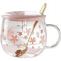 IOYGOOD Tumblers Sakura Glass, Creative Belt Mug, Cute Heat-Resistant Cup, Transparent Cup, Borosilicate Glass Coffee…