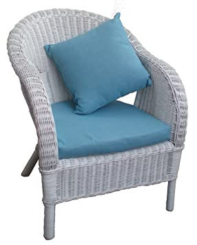 White Wicker Loom Style Chair With Cushions