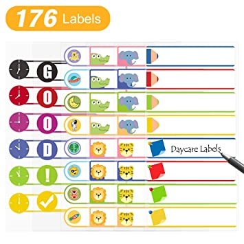 Daycare Labels for Baby Bottle, Cups, School Supplies Waterproof  Self-Laminating Write-On Kids