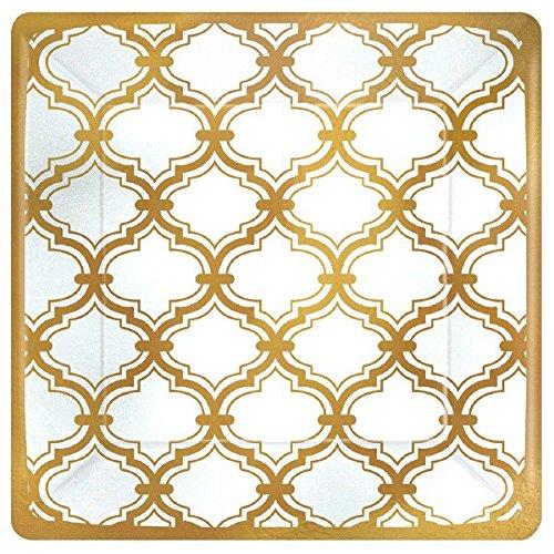 Dessert Plates 7 Square (Durable Sparkling Gold Quatrefoil Square Party Plates Tableware, Paper, 7