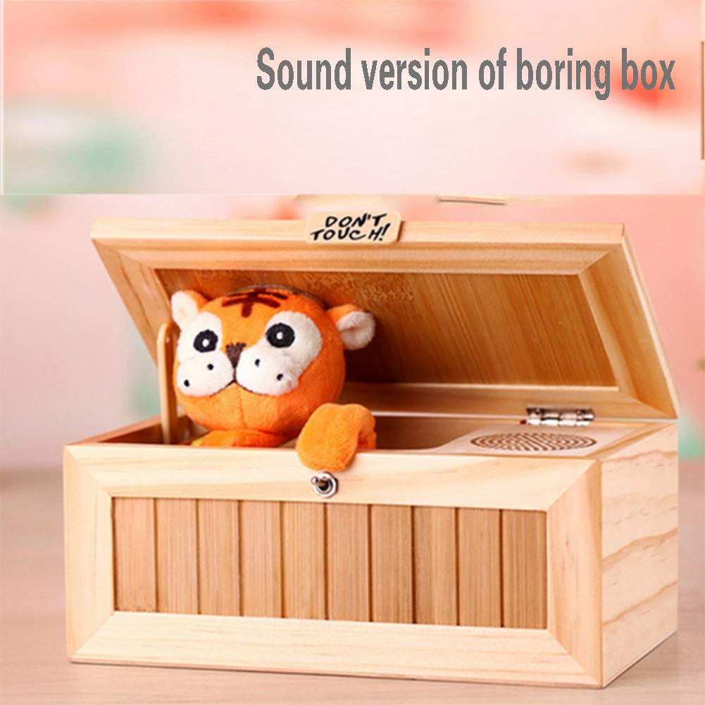 ai rui er Wooden Useless Box Leave Me Alone Box Most Useless Machine Don't Touch Tiger Toy Gift with Sound by ai rui er