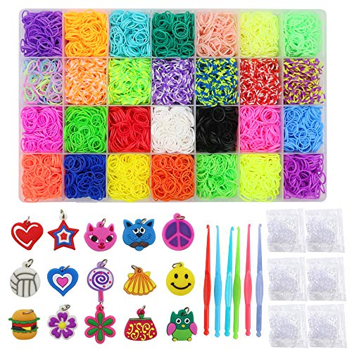 11,300+ Rubber Bands Refill Loom Set: 11,000 Premium Rubber Loom Bands 28 Unique Colors, 280 Clips, 15 Charms to Bracelet Maker Making Kit for Kids, 6 Crochet Hooks by Clashduck ()