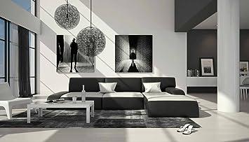 Modernes Eck Sofa Aus Kunstleder In Weiß / Schwarz 280x220 Cm L Form Mit