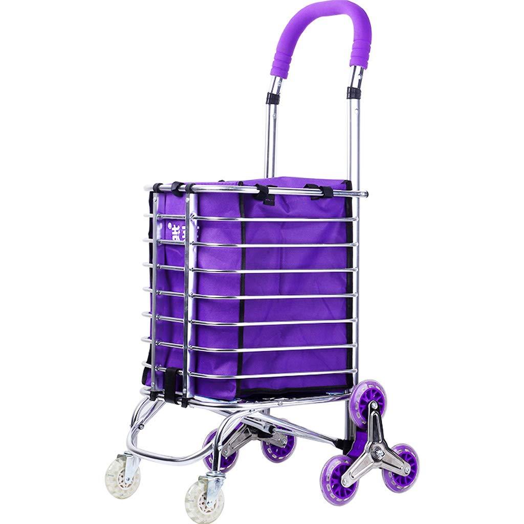 DNSJB ファッション折り畳み厚いステンレススチールのトロリー車は、耐久性のあるローリング滑らかな (Color : Purple) B07SM3DHFH Purple