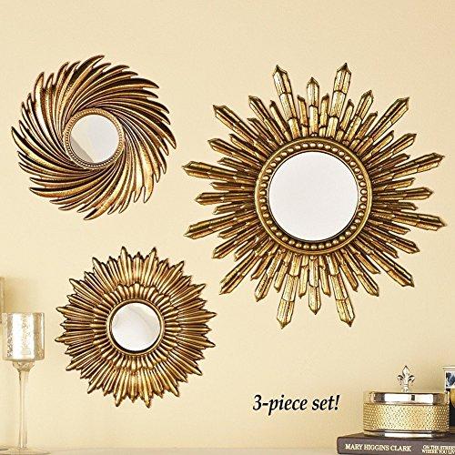 Set of 3 Golden Sunburst Starburst Sunburst Wall Hanging Mirror (Set Of Mirrors For Wall)
