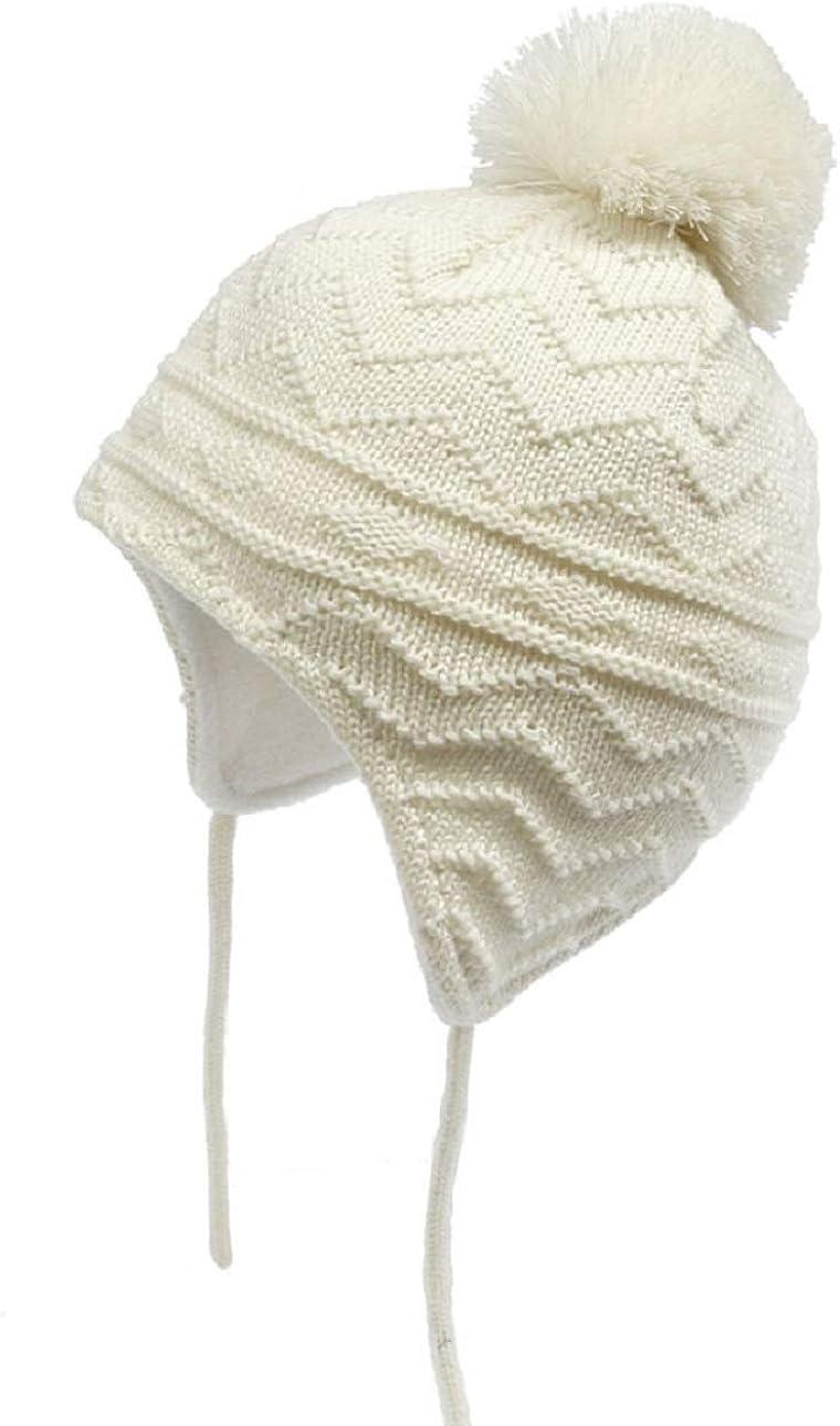 Tuopuda Bonnet Tricot/é Chapeau Beanie Fille Gar/çon B/éb/é Hiver Chaud Chapeau Chauffant Bonnet /Épais Tricot de Doublure Polaire Bonnet /à Pompom avec Fausse Fourrure Boule Bonnet