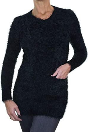 icecoolfashion Womens Super Soft Stretch Hairy Fluffy Knit Jumper Ladies Warm Crew Neck Pullover with Pockets Black 8-16