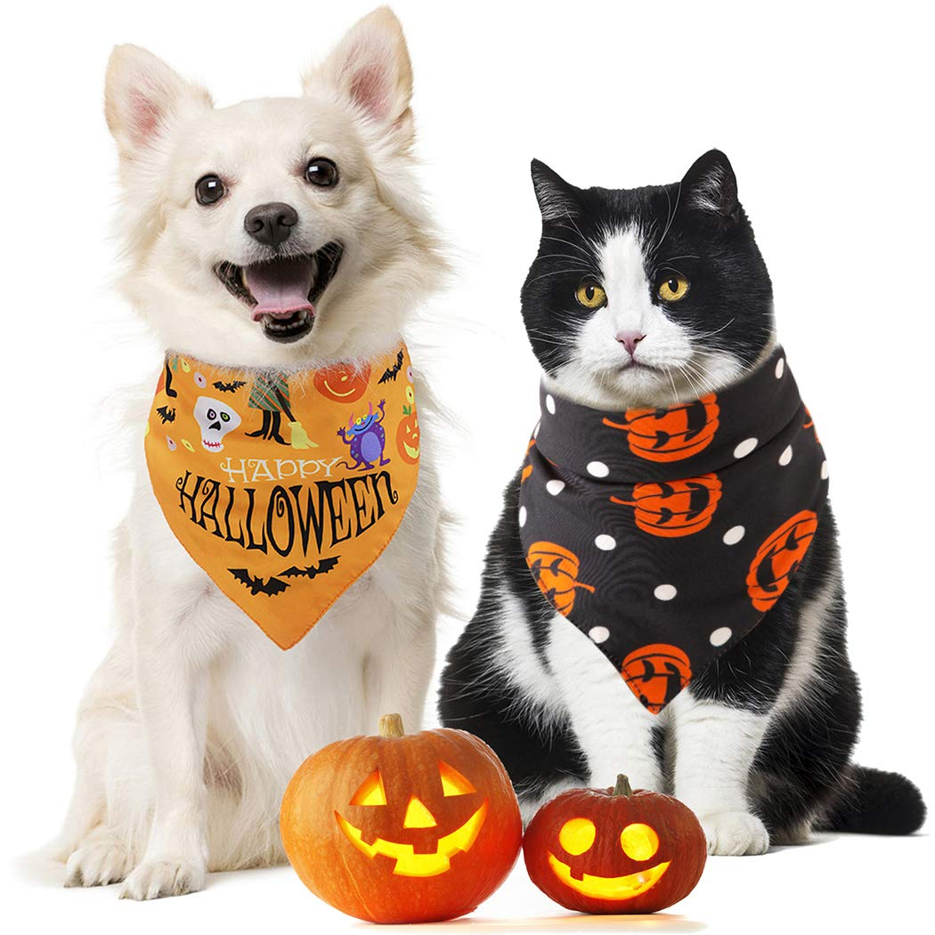 Fansport 2PCS Pet Dog Cat Bandana Triangle Cotton Dog Bibs Scarf for Halloween, Pet nekerchief Set Accessories Suitable for Pet Cats and Puppies