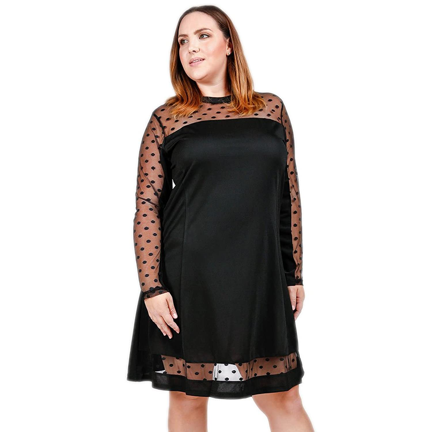 541903bd09a The Classic Black Dress  This cocktail dress with mesh polka dot detailing  creates a flirty version of the vintage dresses plus size women love