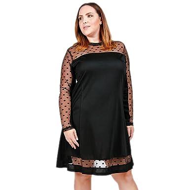 Verona Couture Women Plus Size Black Dress Ladies Mesh Polka Dot