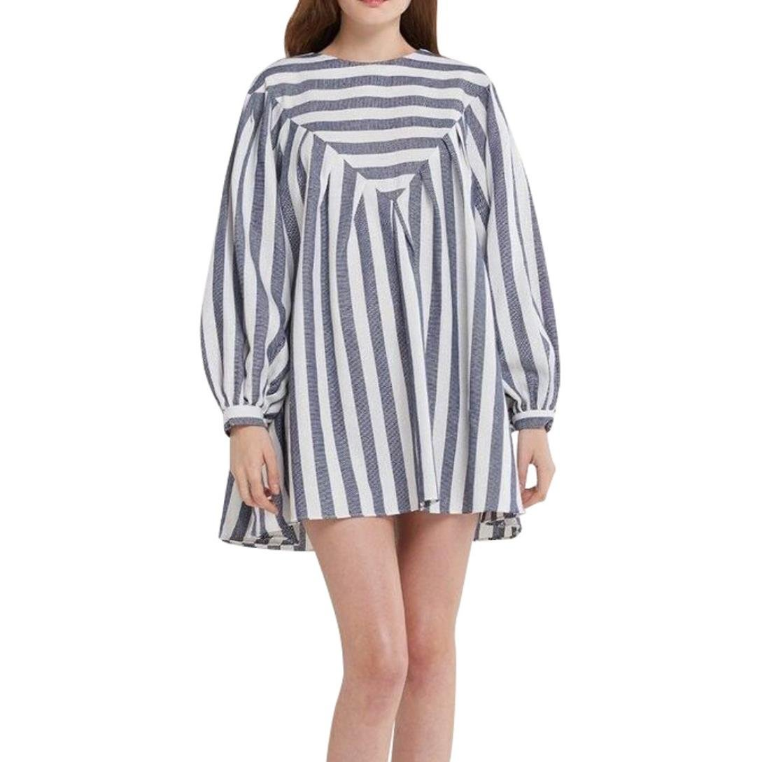 Cotton Linen Dress Ankola Women's Striped Print Long Sleeve Loose Cotton Linen Top Shirt Dress Beach Mini Dress (M, Blue)