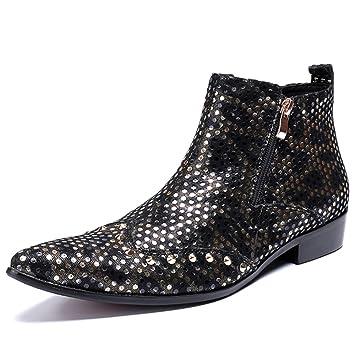 Souy Zapatos De Tacón Alto De Cuero Genuino para Hombre Botines De Punta Estrecha Martin Boots