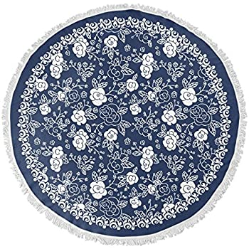 1b01b8b41 KAVKA DESIGNS Blue Floral Round Beach Towel, (Blue) - BOHEMIA Collection,  Size: 60x60x.5 - (TELAVC006FSBTR60)