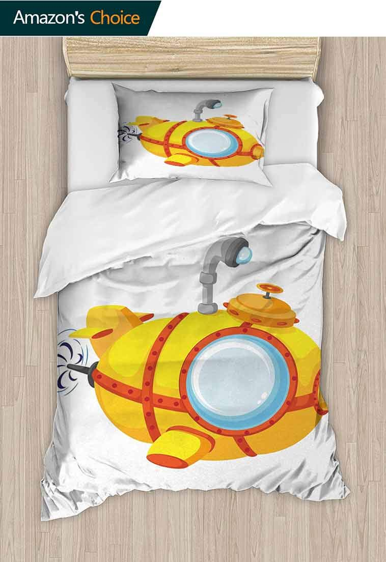 Yellow Submarine DIY Duvet Cover and Pillowcase Set, Illustration of a Bathyscaphe in Cartoon Style Design Print, 2 Piece (1 Duvet Cover + 1 Pillow Sham)-110 GSM Ultra Soft Hypoallergenic Microfiber