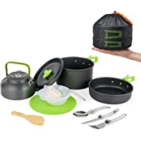 MEETSUN Camp Cookware Set, Camping Cooking Set 15-18 Pcs Portable Mess Kit Backpacking Gear with Non-Stick Pot Kettle…