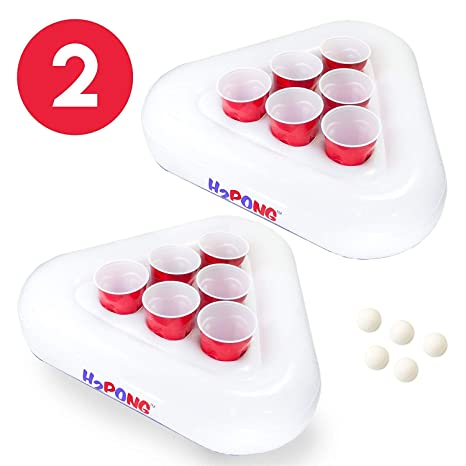 2a8478ad Amazon.com: Play Platoon H2PONG Inflatable Beer Pong Racks, Includes 5 Ping  Pong Balls - Floating Pool Party Game Float Set: Toys & Games