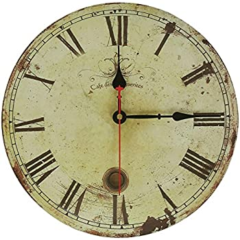 wall clock decal vintage roman numeral design rusted metal look french country style wood antique pictures clocks for sale on ebay repair
