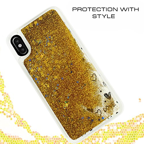 iPhone X Case - ZV Glitter Star Design Cover with Moving Free Flowing Glitter [Slim Fit] Protective Bling Case