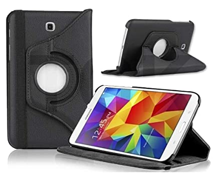 TGK 360 Degree Rotating Leather Smart Rotary Swivel Stand Case Cover for Samsung Galaxy Tab 4 7 inch SM T230 / T231 / T235  Black